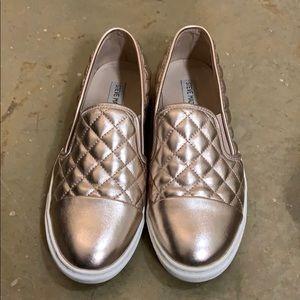 Size 9 rose gold Steve Madden Slip Ons